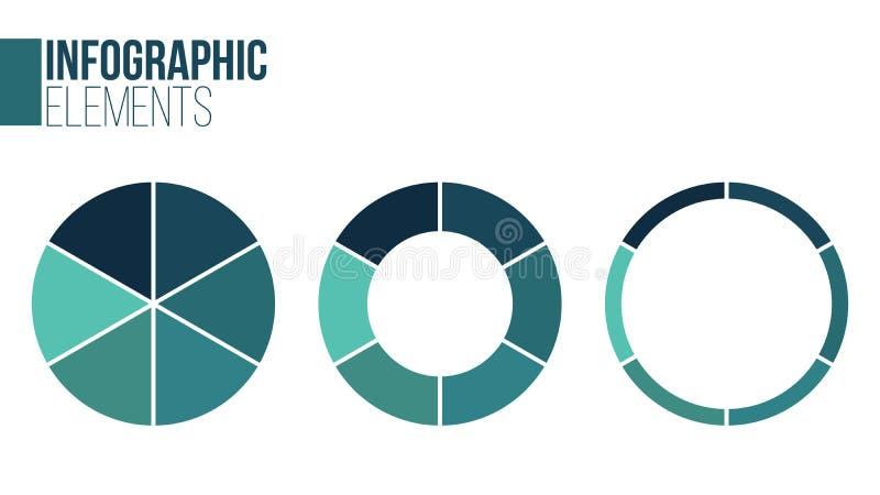 传染媒介圈子infographic集合 周期图、图表、介绍和圆的图的模板 与6个选择的企业概念, 向量例证