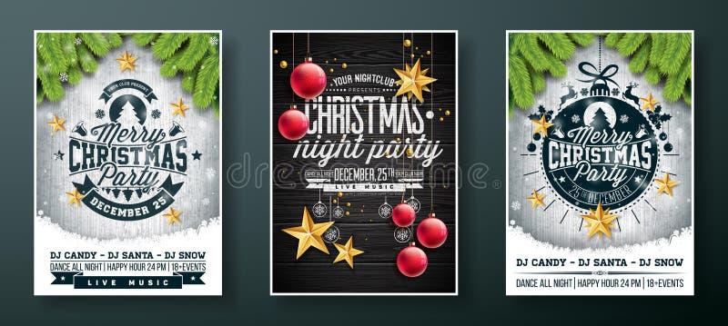 传染媒介圣诞快乐党与假日印刷术元素的飞行物设计和金保险开关裱糊星,玻璃球  向量例证