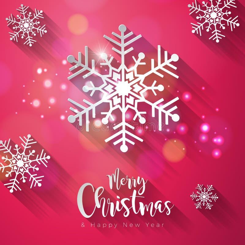 传染媒介圣诞快乐和在长期发光的雪花背景的新年快乐例证与印刷术元素和 库存例证