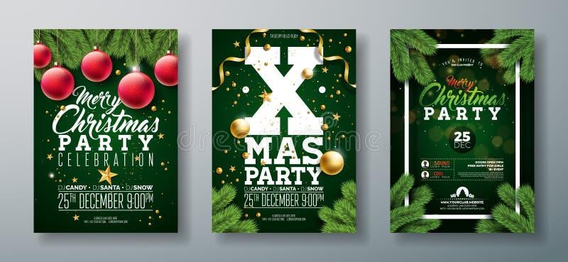 传染媒介圣诞晚会与假日印刷术元素和装饰球,在深绿的杉木分支的飞行物设计 向量例证