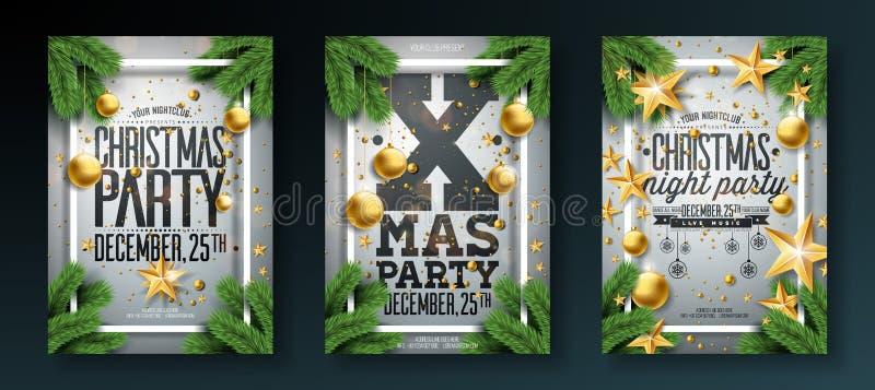 传染媒介圣诞晚会与假日印刷术元素的飞行物例证和装饰球,在白色的杉木分支 向量例证