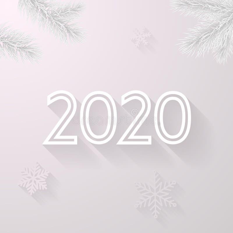 传染媒介圣诞树新年快乐2020白色贺卡在霜的背景和雪花为圣诞节假日 向量例证