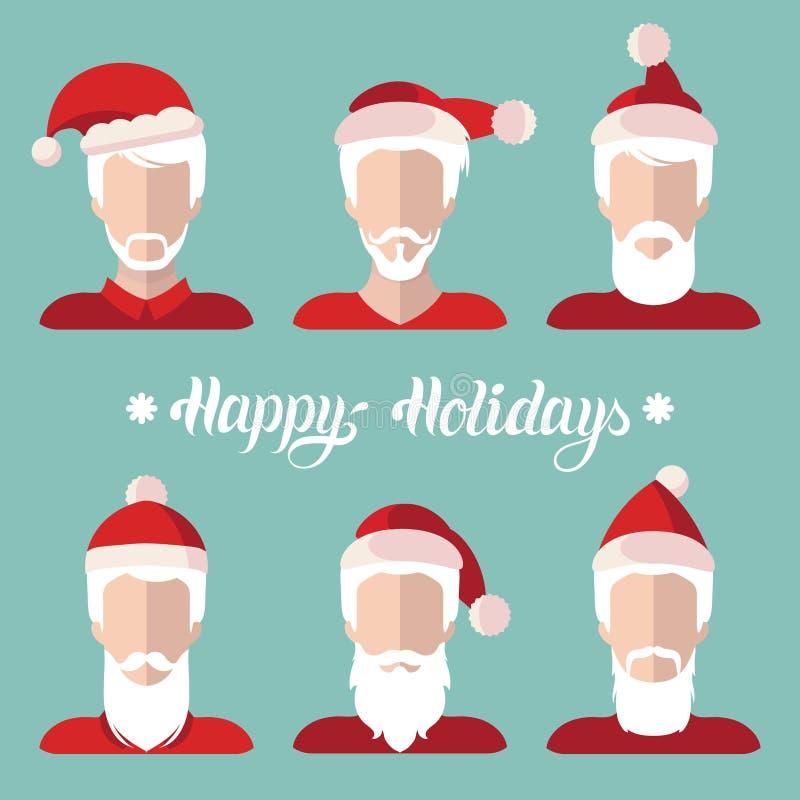 传染媒介圣诞老人条目app象在平的样式设置了 与节日快乐在上写字的Xmas例证 看板卡招呼的新年度 库存例证