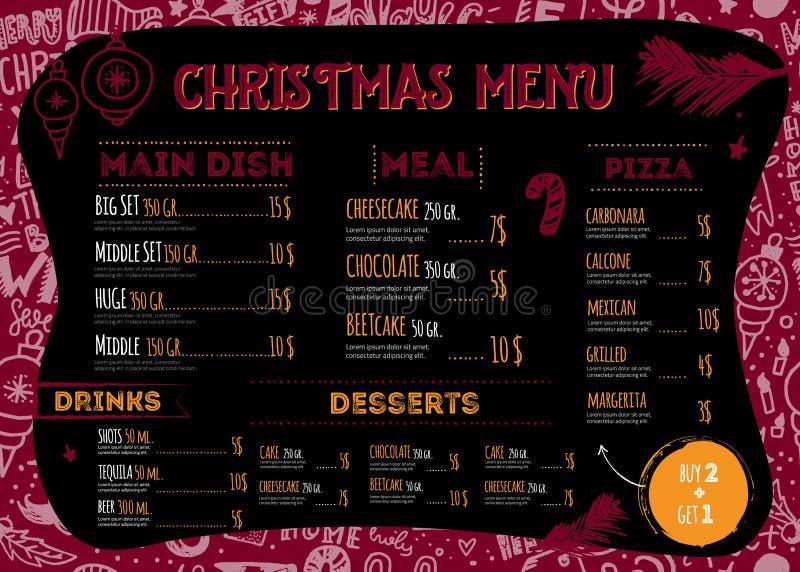 传染媒介圣诞节与手拉的乱画字法的菜单设计 餐馆与球的模板想法 向量例证