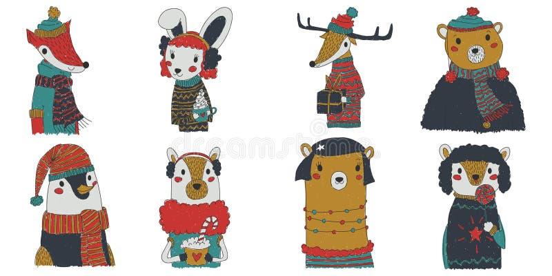 传染媒介圣诞节动物与穿欢乐冬季衣服的八个动物的汇集例证 逗人喜爱的滑稽的小家伙xmas集合 向量例证