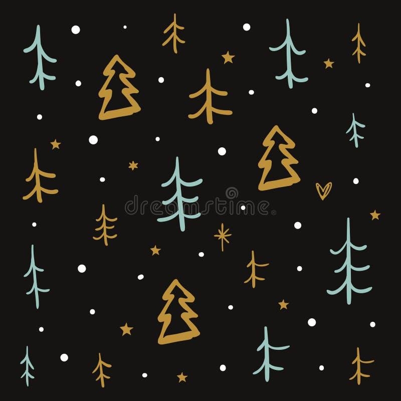 传染媒介圣诞节和新年乱画样式 库存例证