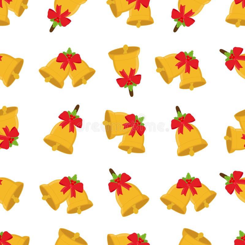 传染媒介圣诞节铃声无缝的样式,金黄xmas标志红色丝带结 库存例证