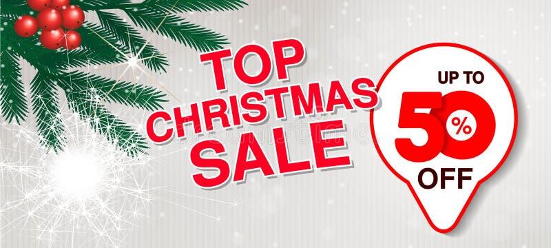 传染媒介圣诞节销售横幅 用途网站、小册子、飞行物、海报和横幅的例证 与50的企业背景, 库存例证