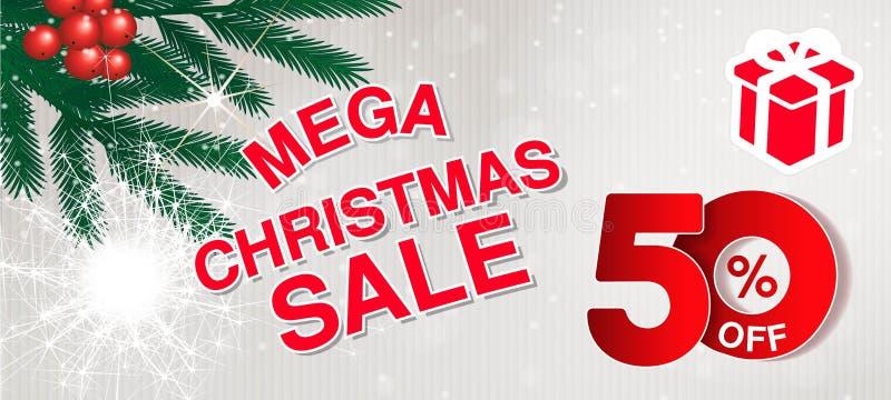 传染媒介圣诞节销售横幅 用途网站、小册子、飞行物、海报和横幅的例证 与50的企业背景, 皇族释放例证