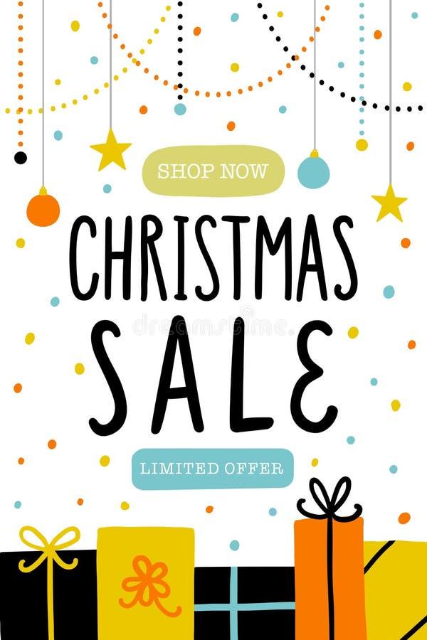 传染媒介圣诞节销售海报或飞行物模板 库存例证