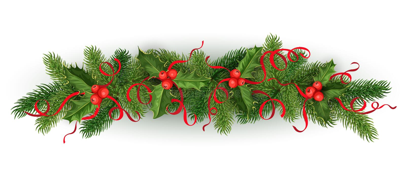 传染媒介圣诞节霍莉云杉树诗歌选 向量例证