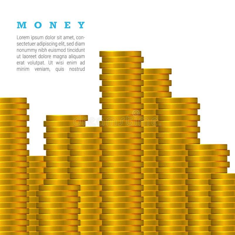传染媒介在与文本的白色背景隔绝的金币堆 金钱概念 向量例证