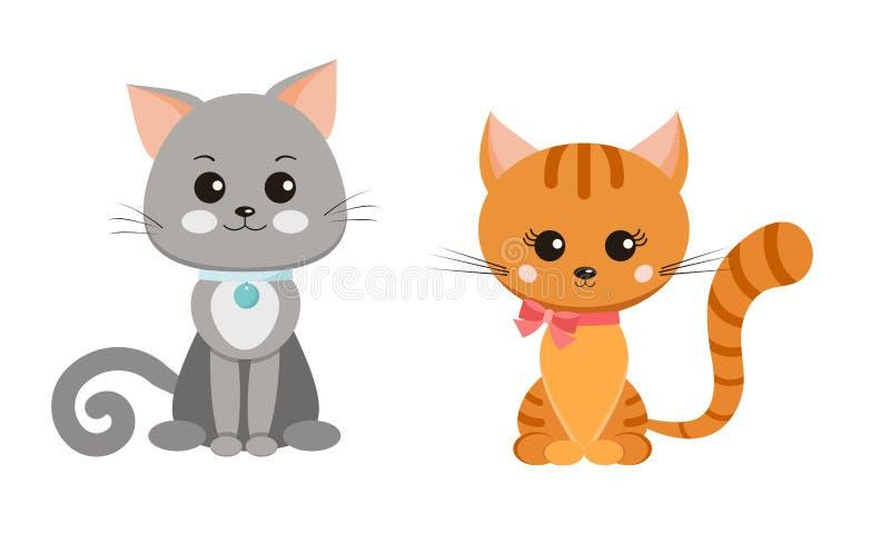 传染媒介在动画片平的样式的白色背景隔绝的猫集合 皇族释放例证