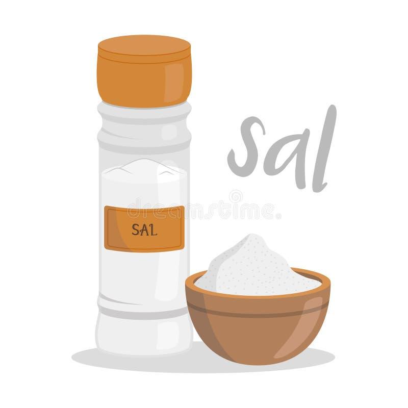 传染媒介在动画片样式隔绝的盐例证 西班牙名字 皇族释放例证
