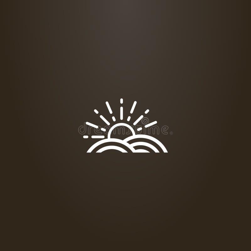 传染媒介在土地剧情上上升太阳的线艺术标志  库存例证