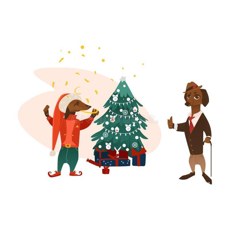 传染媒介在圣诞树附近尾随字符 向量例证