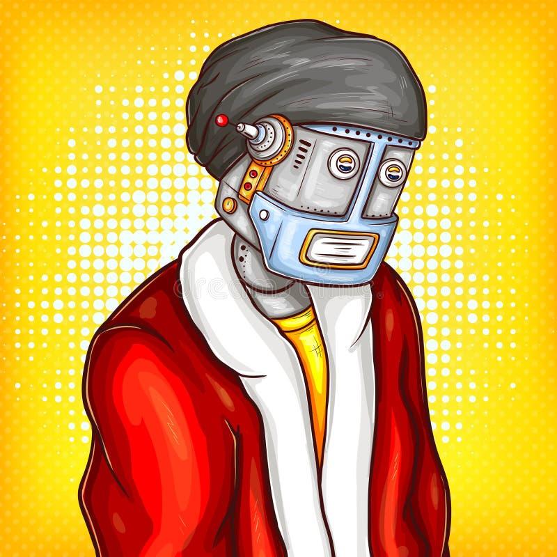 传染媒介在圣诞节服装的流行艺术机器人 向量例证