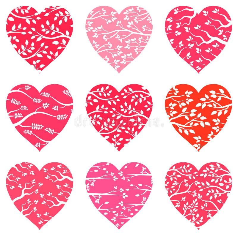 传染媒介在桃红色和红色的心脏剪影 库存例证