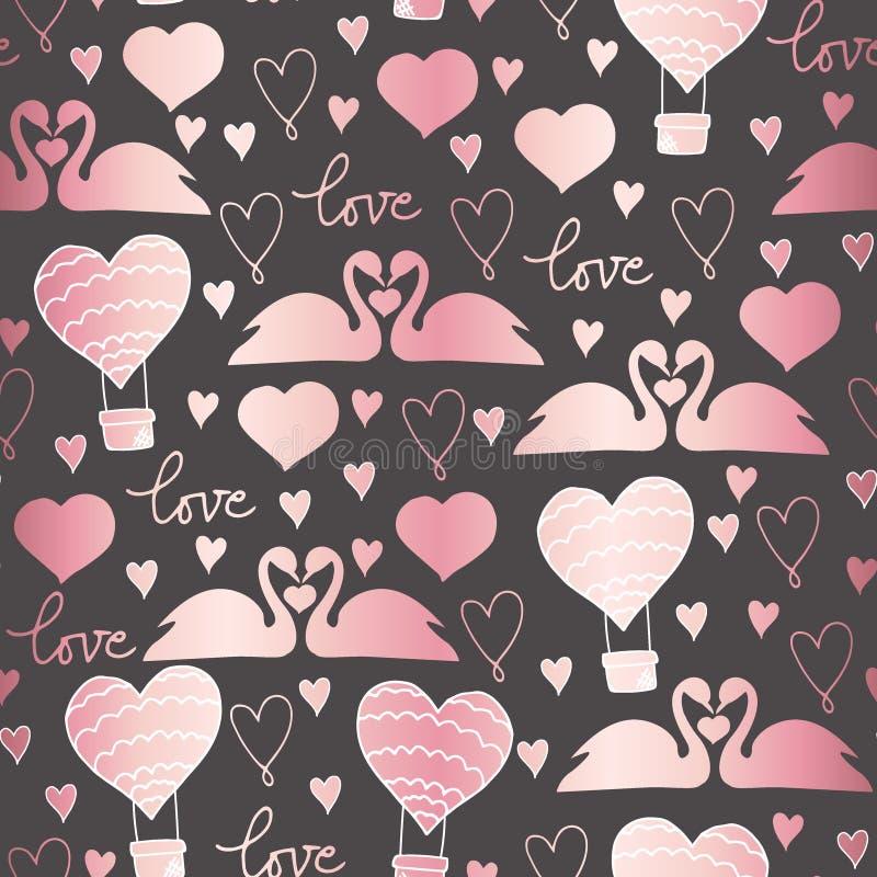 传染媒介在爱的样式天鹅对情人节、婚礼、浪漫事件和爱 向量例证
