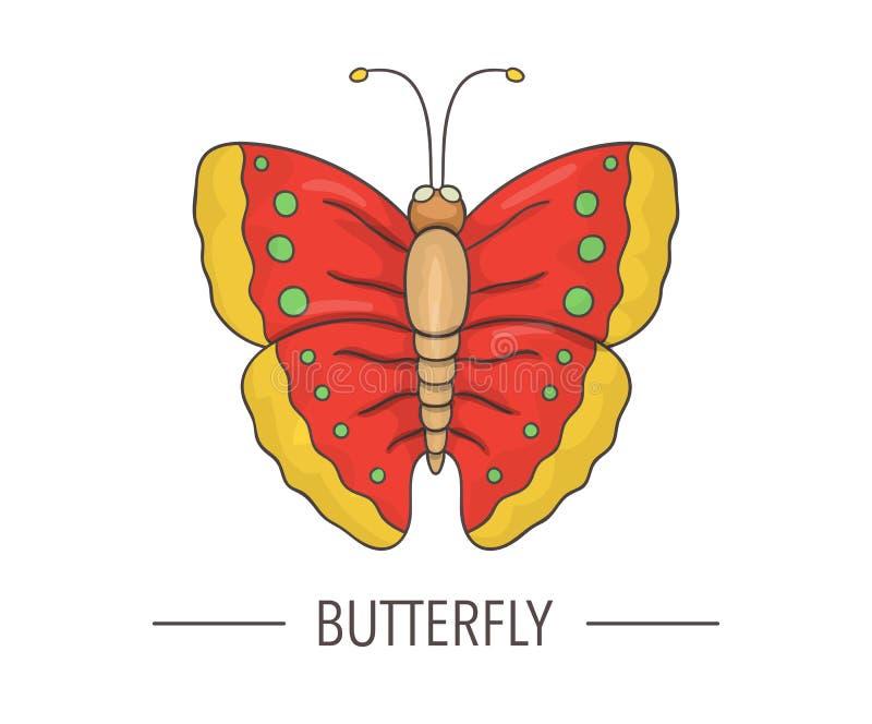 传染媒介在白色背景上色了蝴蝶象被隔绝 库存例证