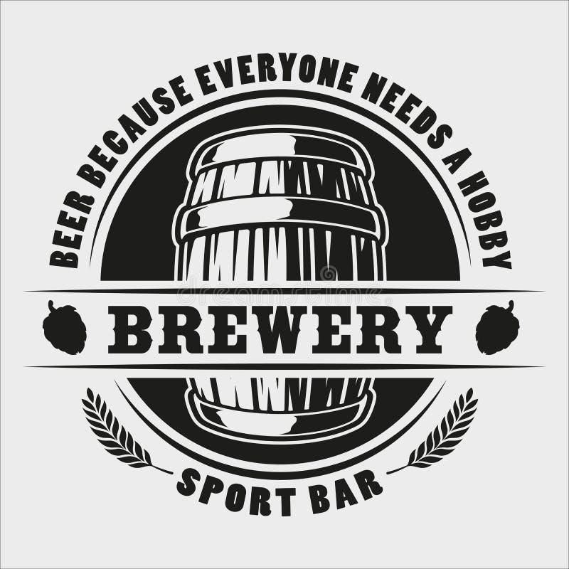 传染媒介在白色背景的啤酒桶徽章 库存例证
