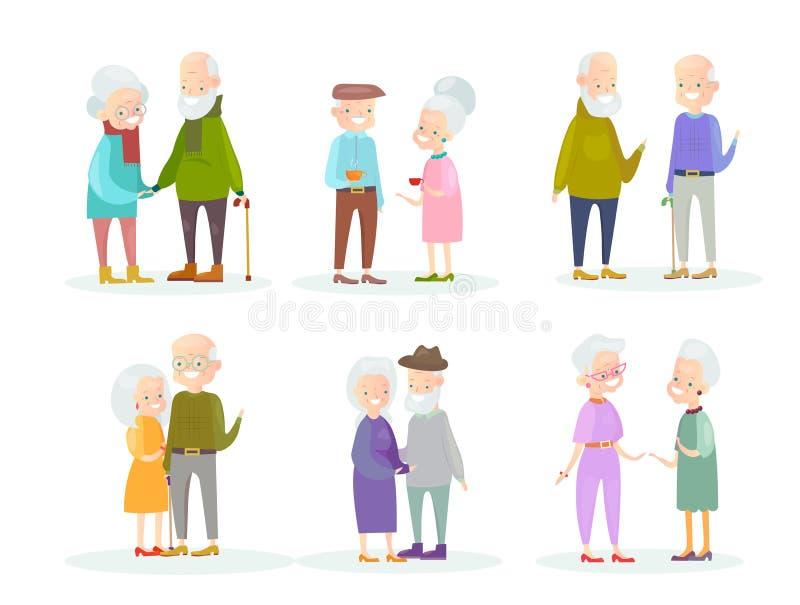 传染媒介在白色背景隔绝的例证套逗人喜爱和可爱的老人夫妇和老朋友 健康和 皇族释放例证
