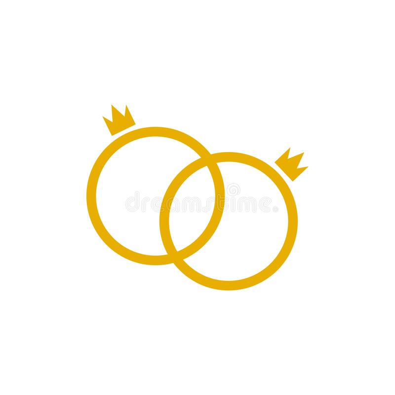 传染媒介在白色背景隔绝的婚戒象,婚姻国王,快乐夫妇 向量例证