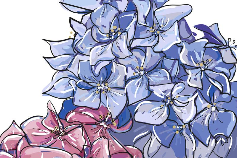 传染媒介在白色背景隔绝的粉红彩笔蓝色的手拉的剪影摘要概述八仙花属或霍滕西亚花束 库存例证