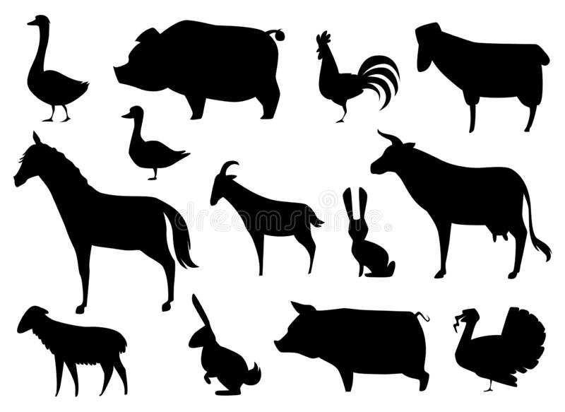 传染媒介在白色隔绝的牲口剪影 库存例证