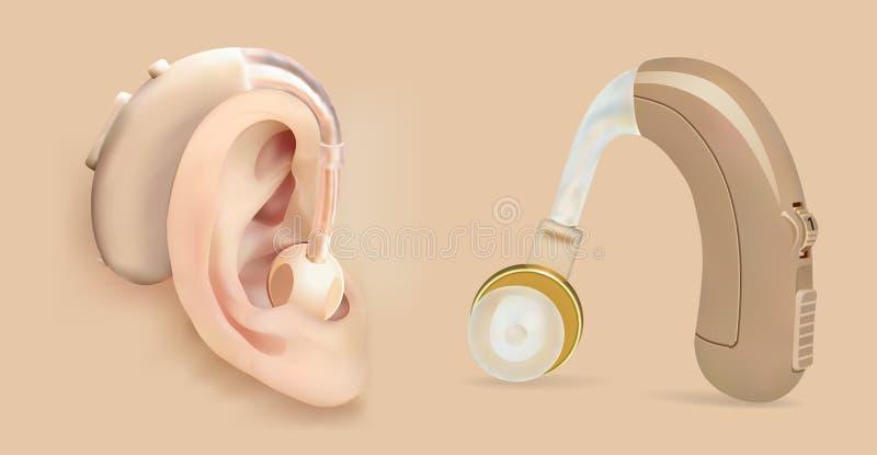 传染媒介在耳朵后的助听器 病人的声放大器有听力丧失 治疗和弭补科 库存例证