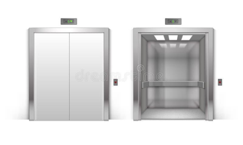 传染媒介在背景隔绝的现实开放和闭合的镀铬物金属办公楼电梯门 向量例证