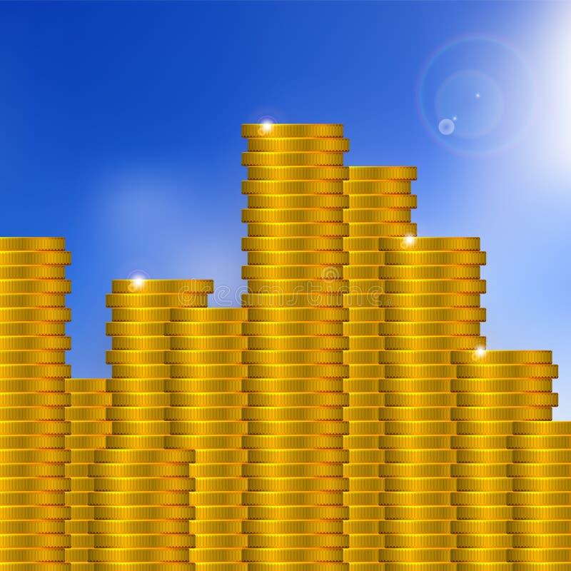 传染媒介在蓝天背景的金币堆 向量例证