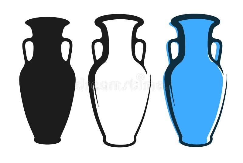 传染媒介在蓝色的油罐图象和剪影在平的样式隔绝的白色和黑背景中 向量例证