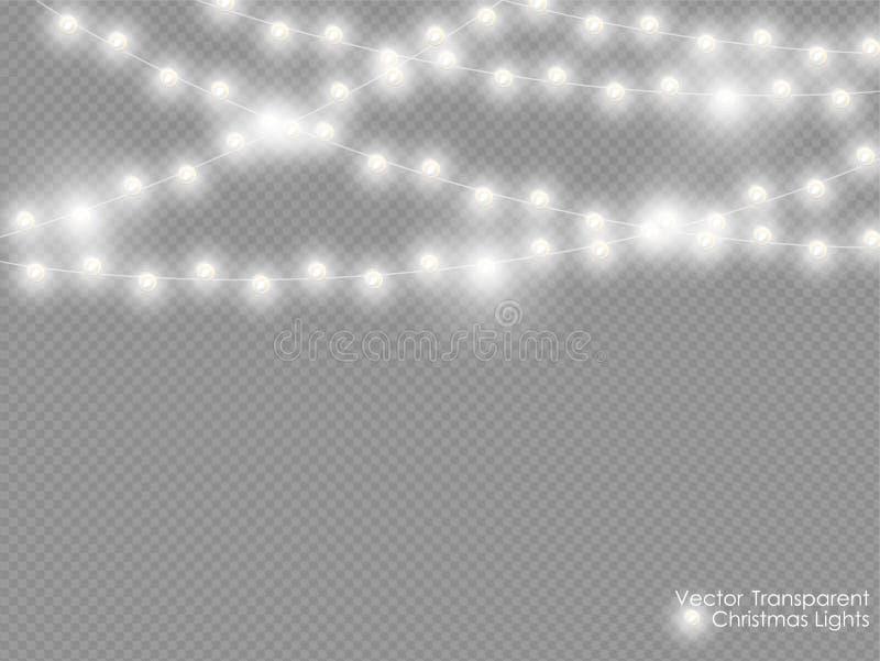 传染媒介在透明背景隔绝的圣诞灯 Xmas发光的白色半透明的新年光装饰 向量例证