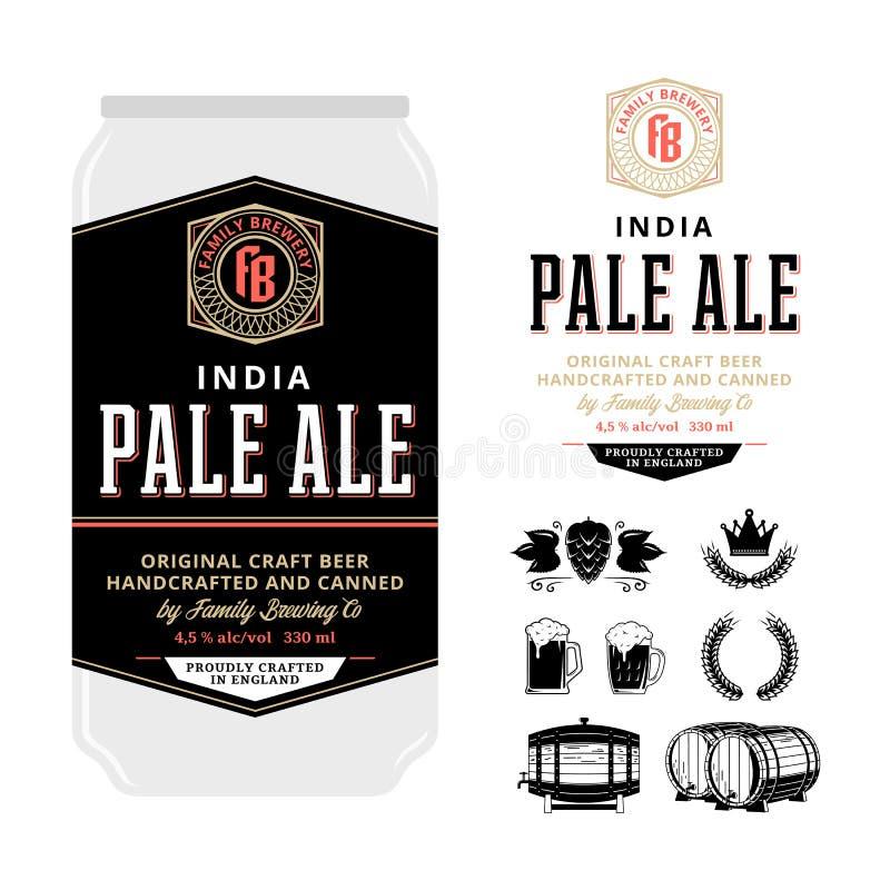 传染媒介在铝罐的啤酒标签 库存例证