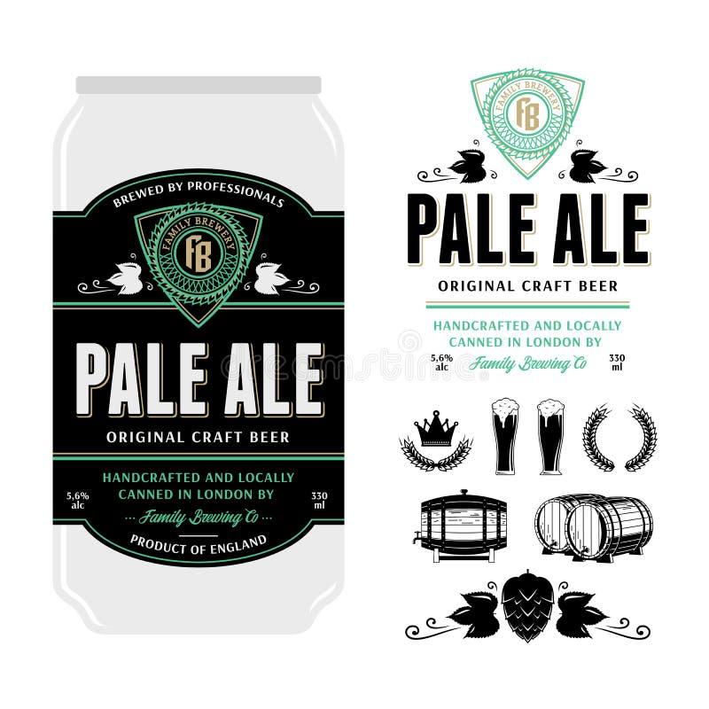 传染媒介在铝罐的啤酒标签 向量例证