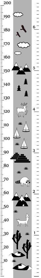 传染媒介在minimalistic斯堪的纳维亚样式的高度图 测量墙壁或高度米、厘米和英寸标度 黑色和 库存例证