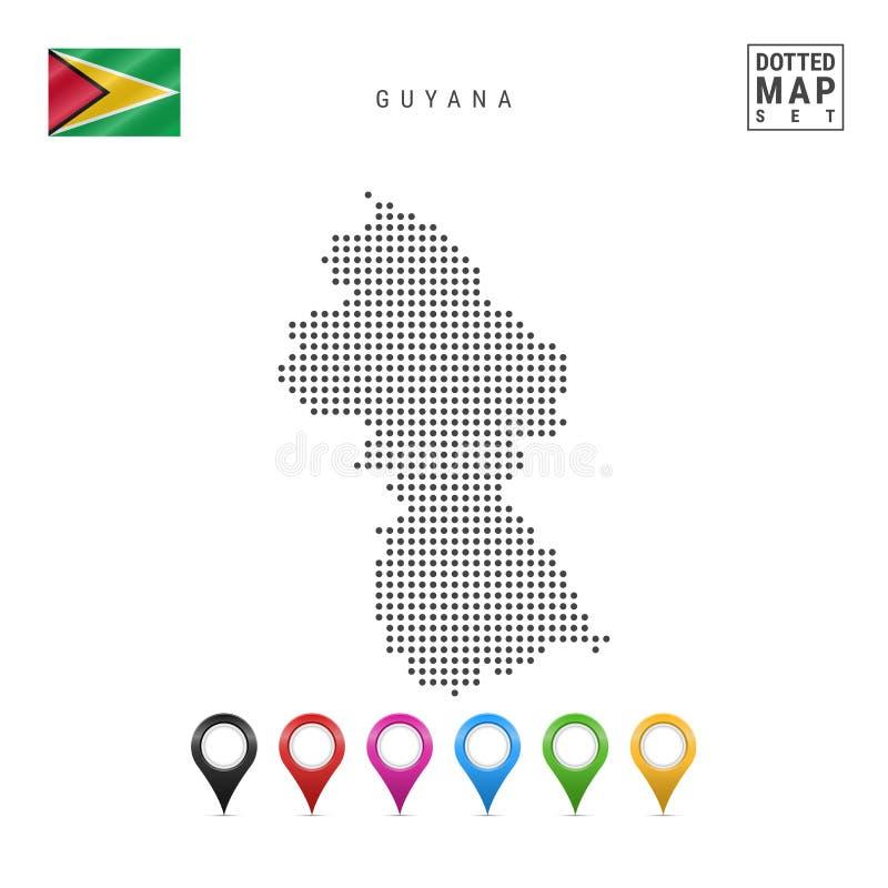 传染媒介圭亚那的被加点的地图 圭亚那的简单的剪影 圭亚那的国旗 套多彩多姿的地图标志 向量例证