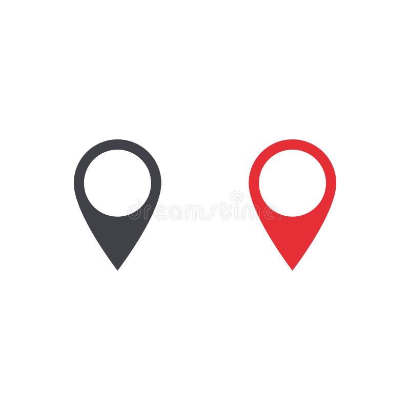 传染媒介地图地点象 地图地点形状 地点标记 设计ui app网站接口的元素 安置别针 黑色和 库存例证