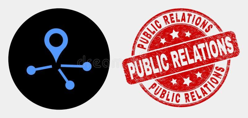 传染媒介地图尖连接象和难看的东西公共关系水印 库存例证