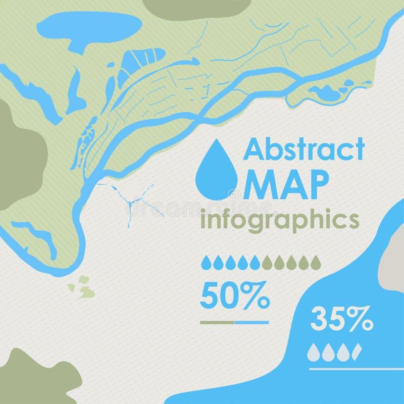 传染媒介地图的摘要零件与河、海、海岛、土地和森林,infographics的背景背景的 库存例证