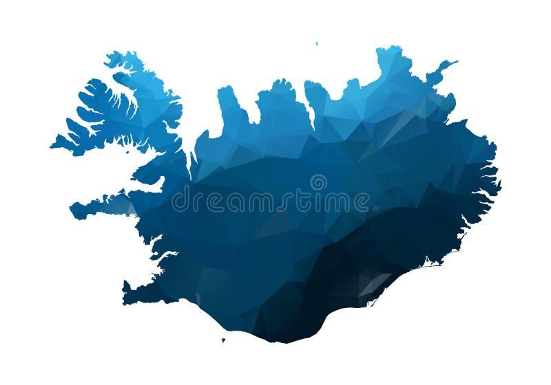 传染媒介地图-蓝色几何被起皱的三角 阿富汗的低多地图 在白色背景隔绝的等高/形状地图 向量例证