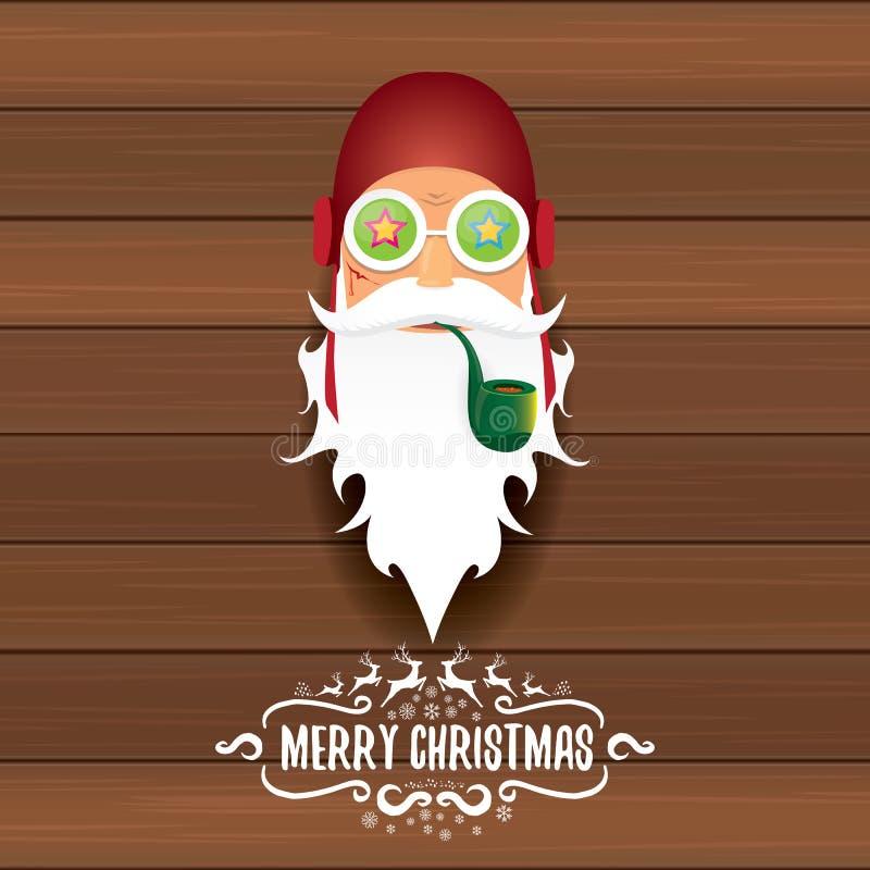 传染媒介坏岩石n卷有烟斗,质朴的胡子和招呼的书法文本dj圣诞老人在老葡萄酒 向量例证
