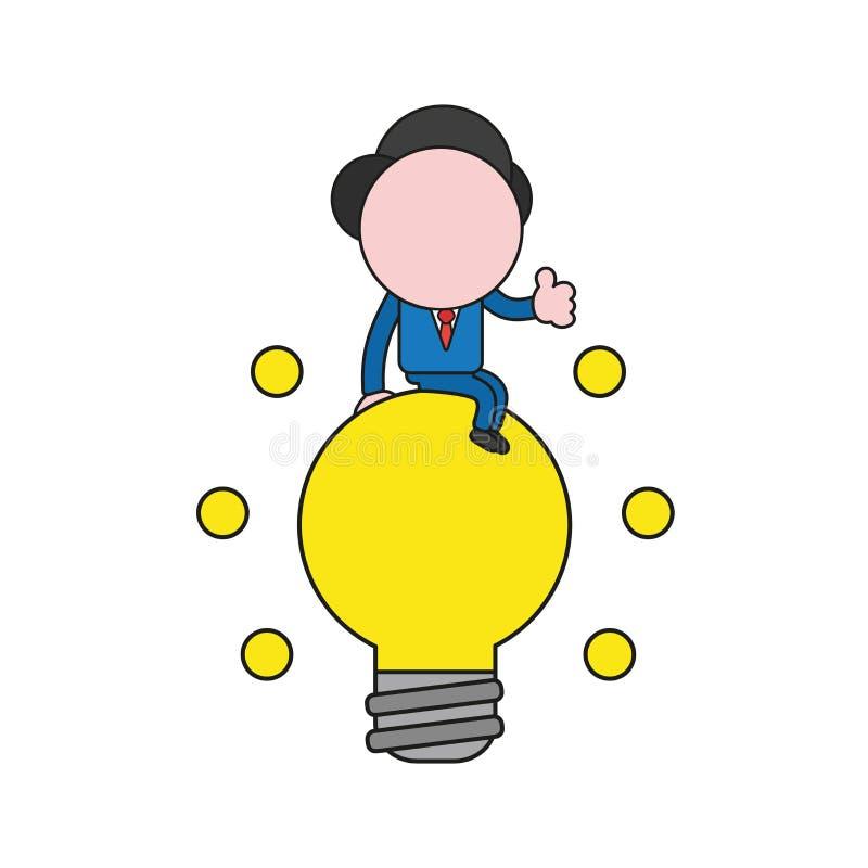 传染媒介坐发光的电灯泡和显示赞许的商人字符 颜色和黑概述 向量例证