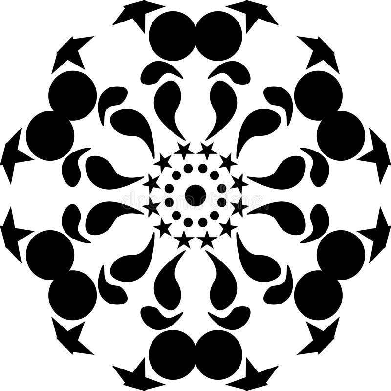 传染媒介坛场黑色回合几何与星、抽象派,坛场摘要&艺术性 黑叶子 库存例证