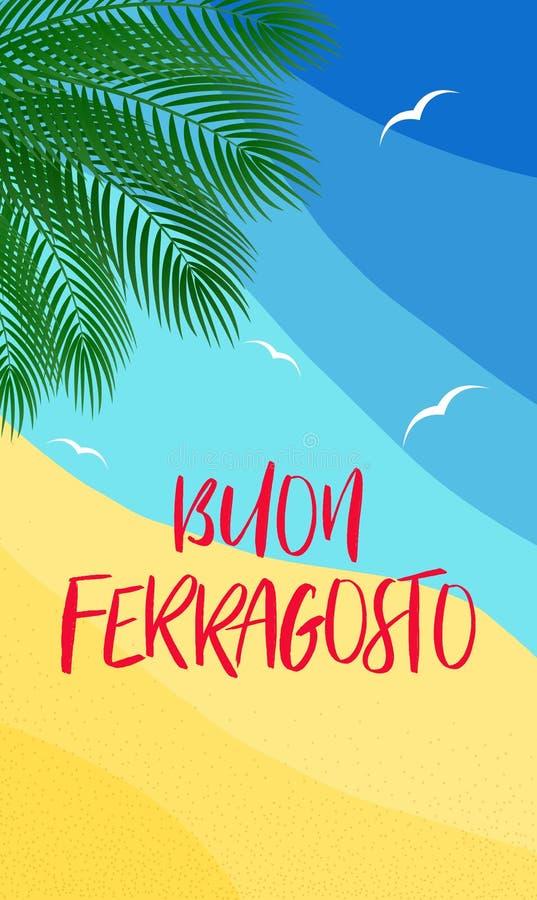 传染媒介垂直的海报概念Buon Ferragosto意大利威严的假日 皇族释放例证