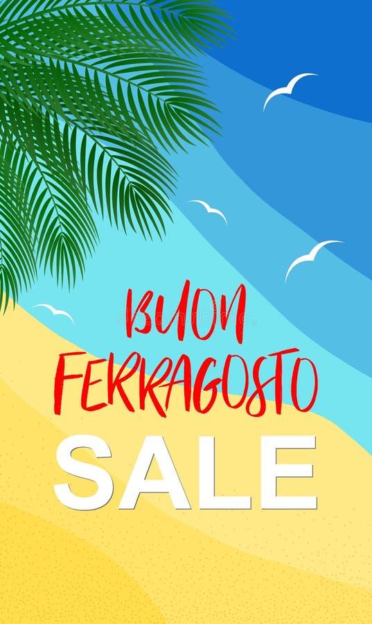 传染媒介垂直的海报Buon Ferragosto销售意大利传统威严的假日 向量例证