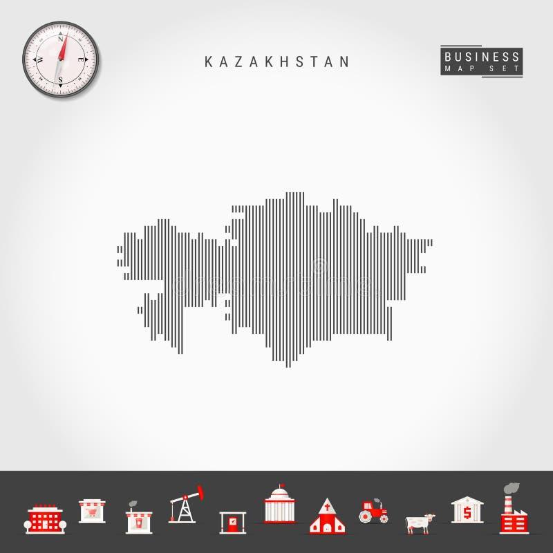 传染媒介垂直线哈萨克斯坦地图  哈萨克斯坦镶边剪影  现实指南针 r 皇族释放例证