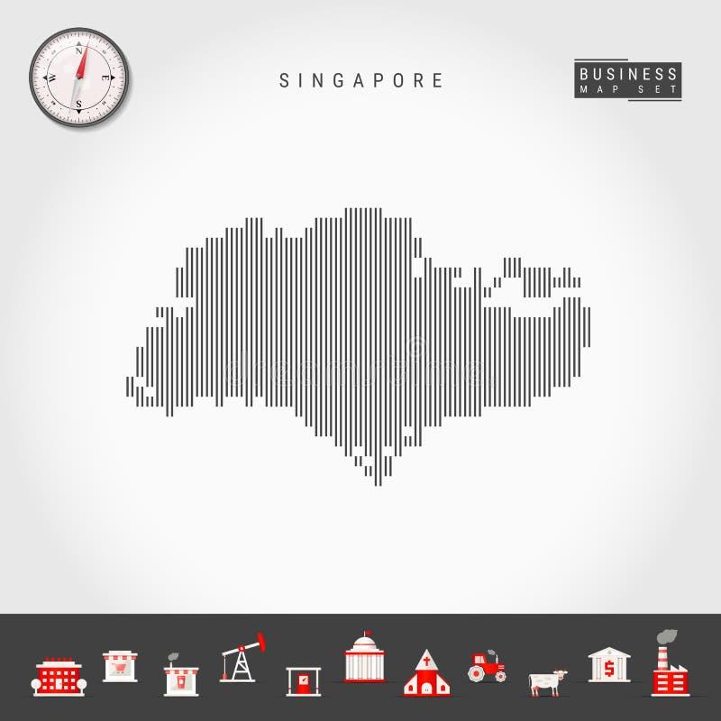 传染媒介垂直线新加坡地图  新加坡镶边剪影  现实指南针 r 皇族释放例证