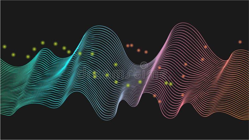 传染媒介声波线动态在蓝色,绿色,桃红色,流动在音乐,声音的概念的黑背景的橘黄色光, 向量例证